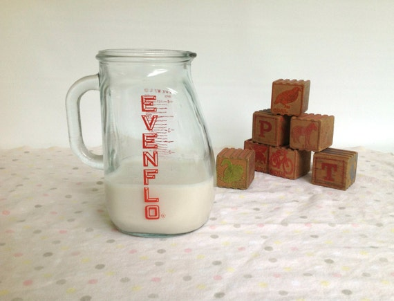 Vintage Evenflo Glass Measuring Pitcher Evenflo Glass Milk