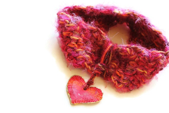 Womens Accessory, Scarf Loop, Infinity Scarf, Heart Drop, Hot Pink, Silky Soft, Shimmery Fibers, Valentines Day Gift, Girly and Pretty