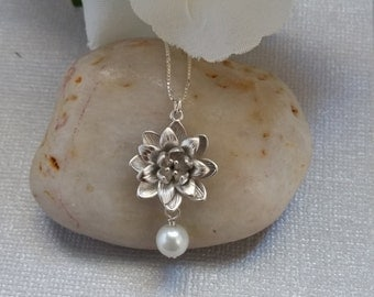 Lotus Flower Necklace, Sterling Silver Necklace, Wedding Jewelry
