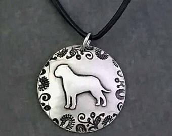 English Mastiff Pendant with paisley border