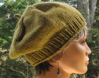 Green Slouchy Beret - Thick Warm Green Wool Cap - Slouchy Green Tam - Moss Green Wool Beret - Slouchy Green Hat - Gift for Him or Her