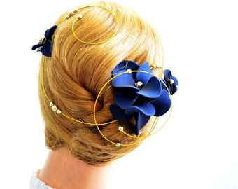 Navy fascinator Floral headpiece  Bridal hair clip Wedding fascinator Wedding hair accessories Hair pin