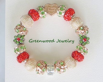 Someone Special ~ European Style Charm Bracelet - Lampwork Glass And Crystal Beads and Charms, Rose Gold, Green & Red