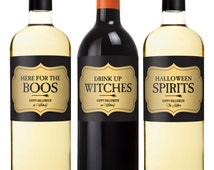 Halloween Wine Label - Party Favors - Drink Up Witches - Halloween Party Champagne Labels - Bottle Label Stickers - Set of 6