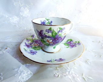 Vintage 1950s Gladstone  DemitasseTea Cup and Saucer, Pattern 5429, Violets and White Roses