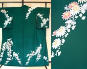 Dark green daisy silk kim...