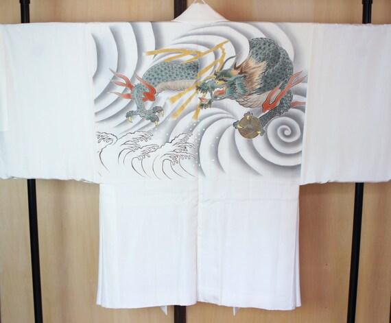 SALE ++ Japanese reversible Haori with dragon artwork, Vintage white mens kimono jacket, Japanese jacket white mens haori dragon ball yakuza