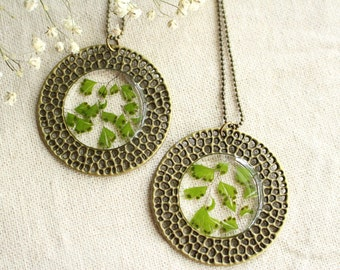 Maidenhair Fern Pendant / Bronze Jewelry / Resin and Real Flowers