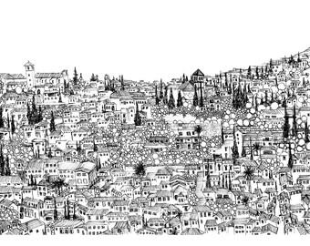 Granada Print: Albaicín from the Alhambra, Granada, Spain