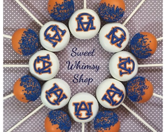 12 AU Cake Pops for Auburn university tigers, football, Alabama, war eagle, college, cheerleader, back to school, tailgate, wedding favor