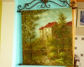 Vintage Wrought Iron holder with oil painting of mediterranean scenery and house. Original . Large