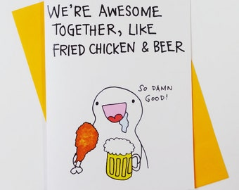 Awesome together Fried Chicken and Beer card