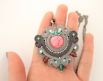 Pink and grey soutache pendant, embroidered grey pendant, pink pendant, grey beaded pendant, handmade pendant, soutache jewelry