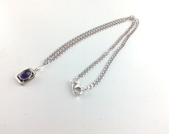 Amethyst Necklace ~ February birthstone ~ Amethyst jewelry ~ Valentines day jewelry, Rhodium chain ~ purple necklace ~ Amethyst Drop