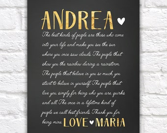 Special Gift for Best Friend, Letter to Best Friend, Sentimental Gifts, Birthday Gift for Friend, Gold and Black, Cursive Letter | WF401