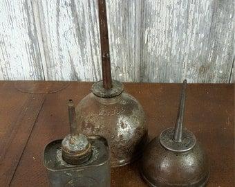 Steampunk Industrial Find Vintage Oil Cans Eagle Set of 3