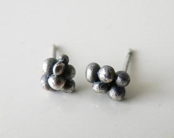 Oxidized Sterling Silver Organic Dot Studs Ball Stud Earrings Earrings Irregular Studs bySteamyLab