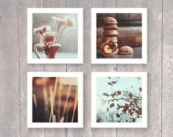 A set of 4 square large Autumn photography prints Rustic Shabby Chic Home wall decor Brown Mint Fine art photography Rust Dried Flowers Blue