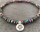 "Paw Charm ""Over the Rainbow Bridge"" Memorial Magnetic Bracelet, Anklet Necklace featuring TierraCast Paw Charm & Rainbow Magnetic Beads ~"