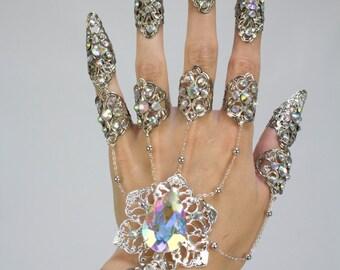 Silver iridescent hand flower chain bracelet