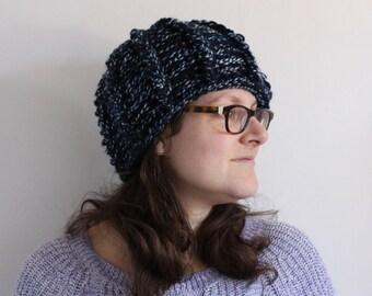 Warm winter hat, black and blue hat, ladies hat, big crochet winter hat, size large