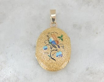 Exquisite Enameled Butterfly and Flower Locket in Yellow Gold CF7REN-R
