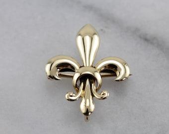 Vintage Gold Fleur De Lis Brooch, Lapel Pin  7C6KDC-P
