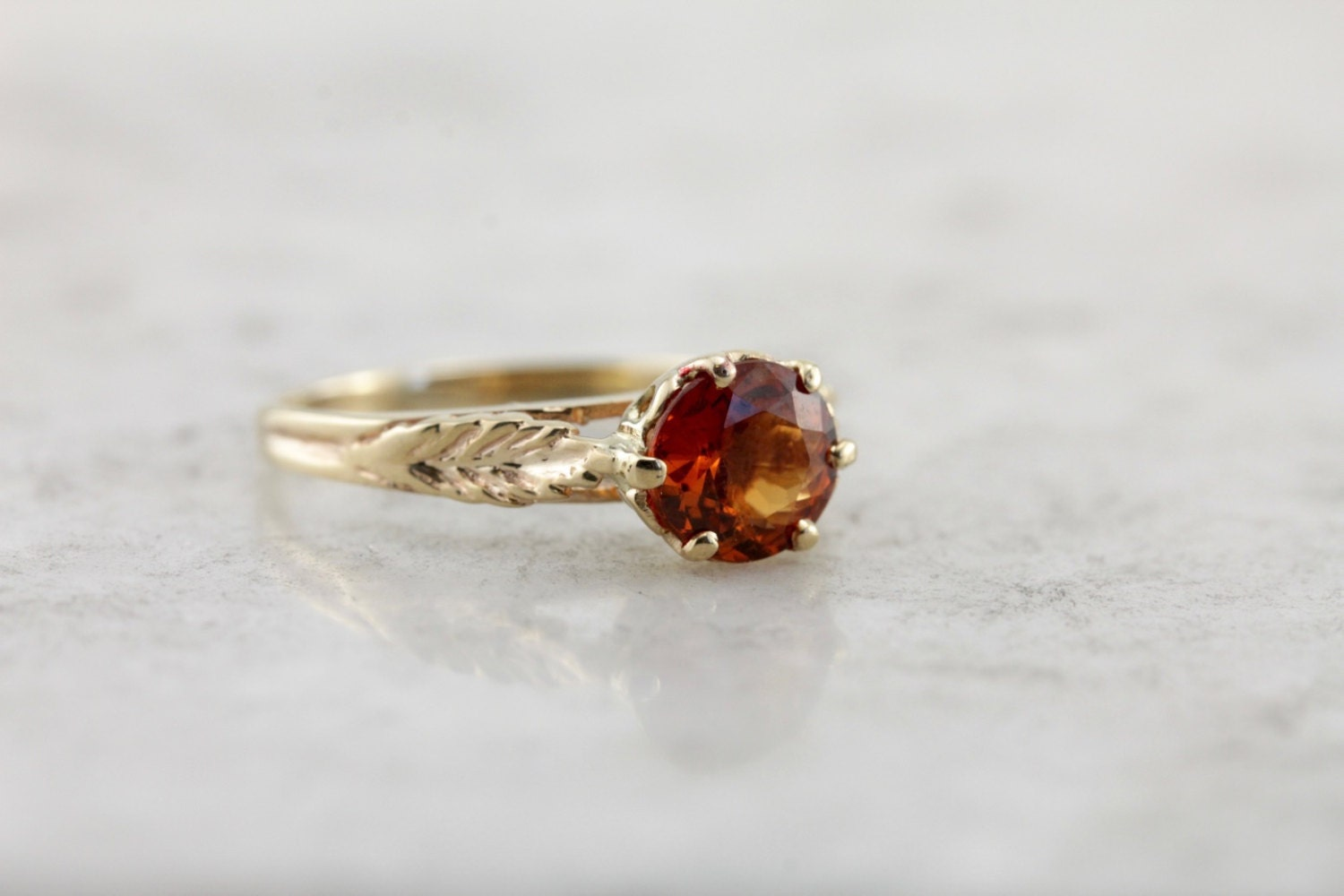Crisp Orange Hessonite Garnet Solitaire Vintage Leaf Mounting