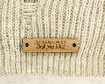 Custom Wood Tags for Business Branding, Product Tags, Wedding Favors. Personalized Tags, Logo Wood Knit Tags, Handmade By Tags. 2x0.5""