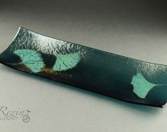 Gingko Fused Glass Tray