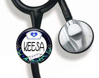 RN Nurse Stethoscope Button, Personalized Medical Identification, Nurse ID, Medical Field, Stethoscope ID tag