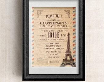 Vintage Parisian Bridal Wedding Shower Clothespin Game, JPG Instant Download