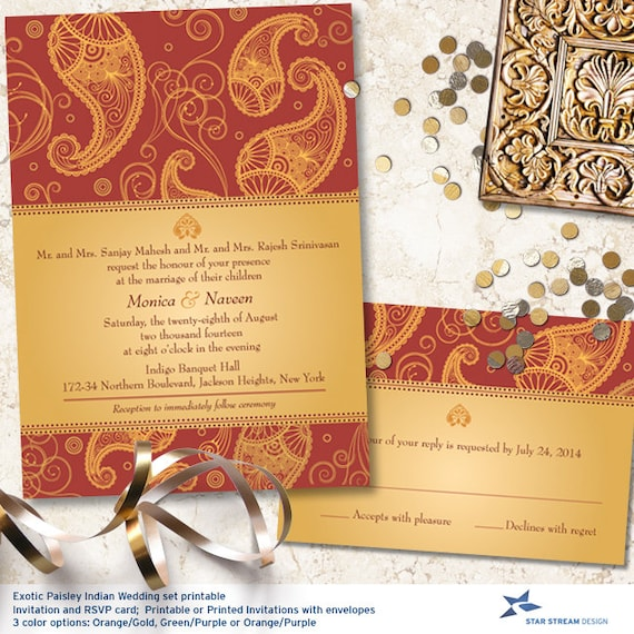 Exotic Paisley Indian Frame Wedding Stationery By