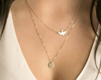 Delicate Bird Necklace Set with Initial Disk Necklace • 14k Gold Fill, Sterling Silver, Rose Gold • Dainty Necklaces: Bird & Disc • LS915
