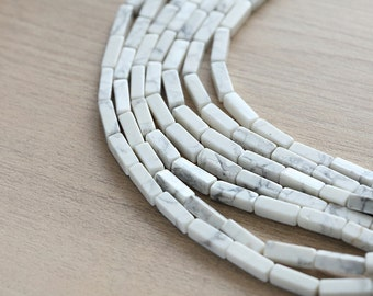10 pcs of Natural Howlite Tube Beads - 13 x 4 mm