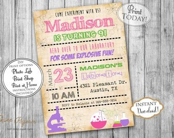 INSTANT DOWNLOAD - Girl Science Birthday Party Invitation - Mad Scientist Party - Science Invitation - Birthday Experiment Party - 0202