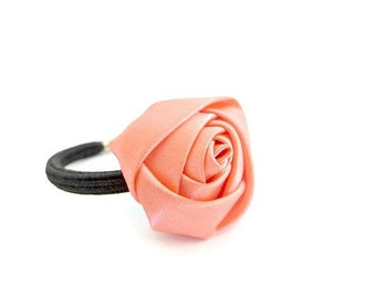 Coral Flower Ponytail Holder/ Satin Flower Ponytail Holder/ Salmon Flower Ponytail Holder/ Flower Ponytail Holder/ Rose Ponytail Holder