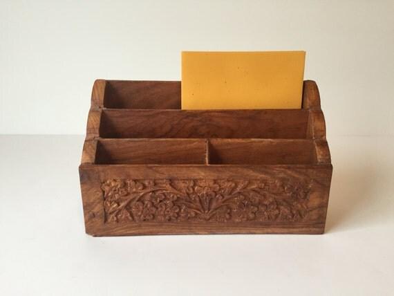 Vintage desk organizer bill holder letter holder envelope for Vintage letter holder desk