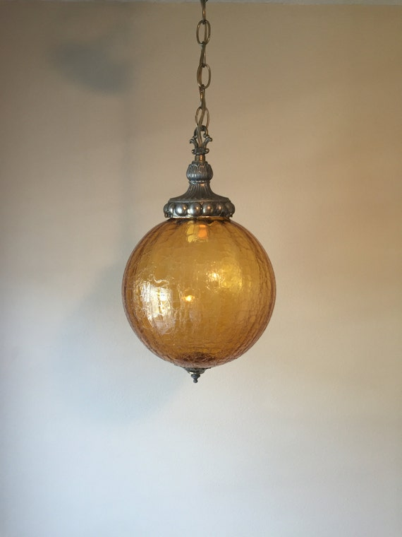 Vintage Amber Crackle Glass Light Fixture Mid Century Ceiling