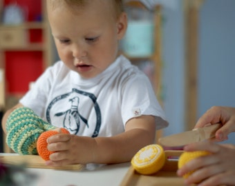 Cutting crocheted lemon, cutting crocheted orange-Cutting play food-Slice and play fruits-Pretend play-Interactive toy