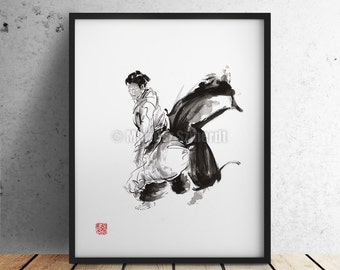 Aikido Surreal Art Poster, Martial Arts Painting, Caligraphy Japanese Style Artwork.