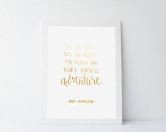 Foil Art Print - Flighty Temptress Adventure - Harry Potter Quote - 8x10 inches