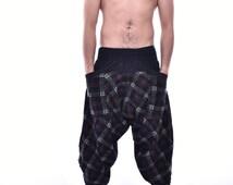 Scotland Pattern Printed Samurai Pants, Trousers, Baggy pants, Yoga pants, 100% Cotton(Unisex) One Size Fit All...New