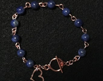 Bracelet: Lapis Lazuli Copper with Hammered Heart Charm