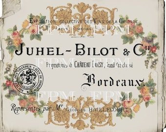 Antique Digital French Business Card, Vintage Floral Wreath, Wallpaper, French Collage Sheet