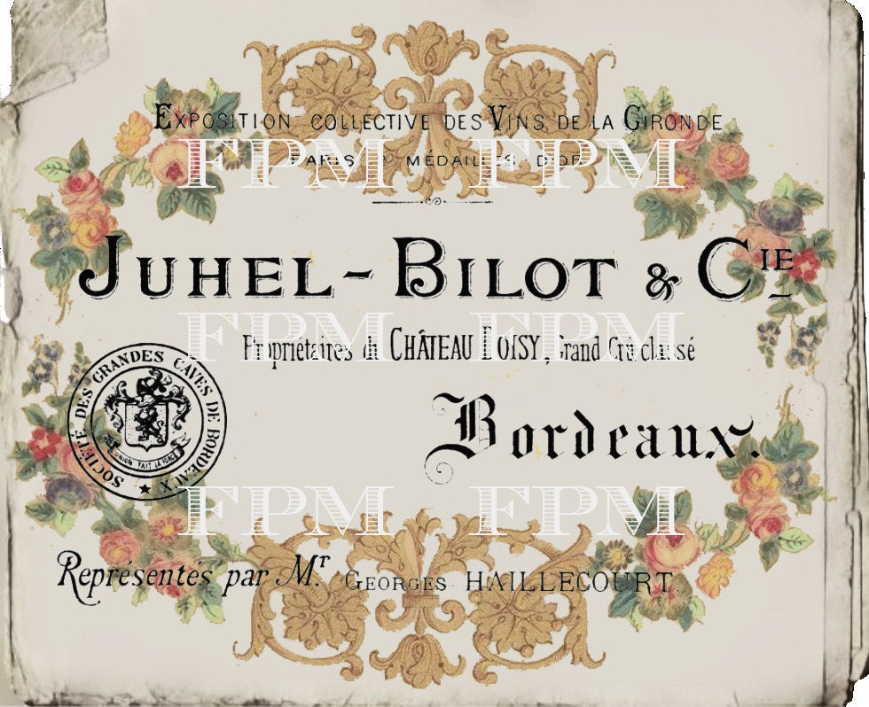 Antique Digital French Business Card, Vintage Floral Wreath ...