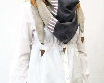 Linen scarf, womens scarf, unique scarf, grey scarf, neck scarf, linen wraps , shawls