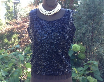 1960s Vintage Black Sequin Blouse Top Hand Beaded Size M