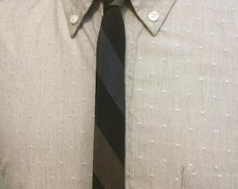 Bold Multi Striped Wool+Dacron Men's Micro Skinny Tie c1960s