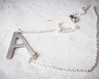 sideways initial necklace personalized chain with side letter pendant asymmetrical alphabet letter block letters customizable gift ideas